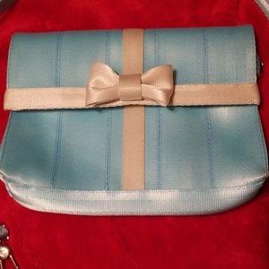 Harveys Robin egg tiffany blue foldover purse EUC